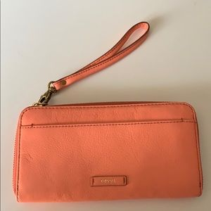Used Fossil clutch/wallet coral